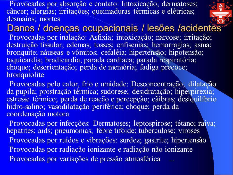 Danos / doenças ocupacionais / lesões /acidentes Provocadas por absorção e contato: Intoxicação; dermatoses; câncer; alergias; irritações; queimaduras