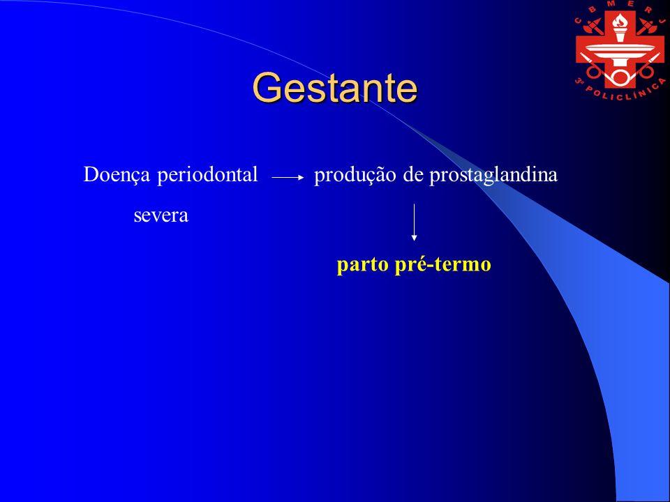 Gestante Doença periodontal produção de prostaglandina severa parto pré-termo