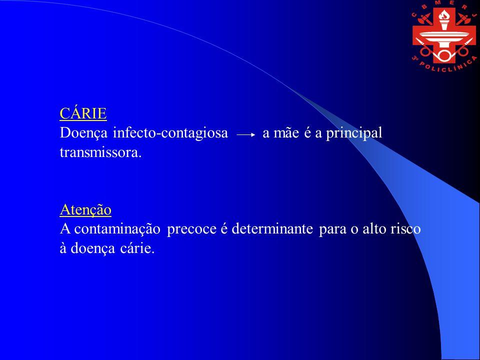 CÁRIE Doença infecto-contagiosa a mãe é a principal transmissora. Atenção A contaminação precoce é determinante para o alto risco à doença cárie.