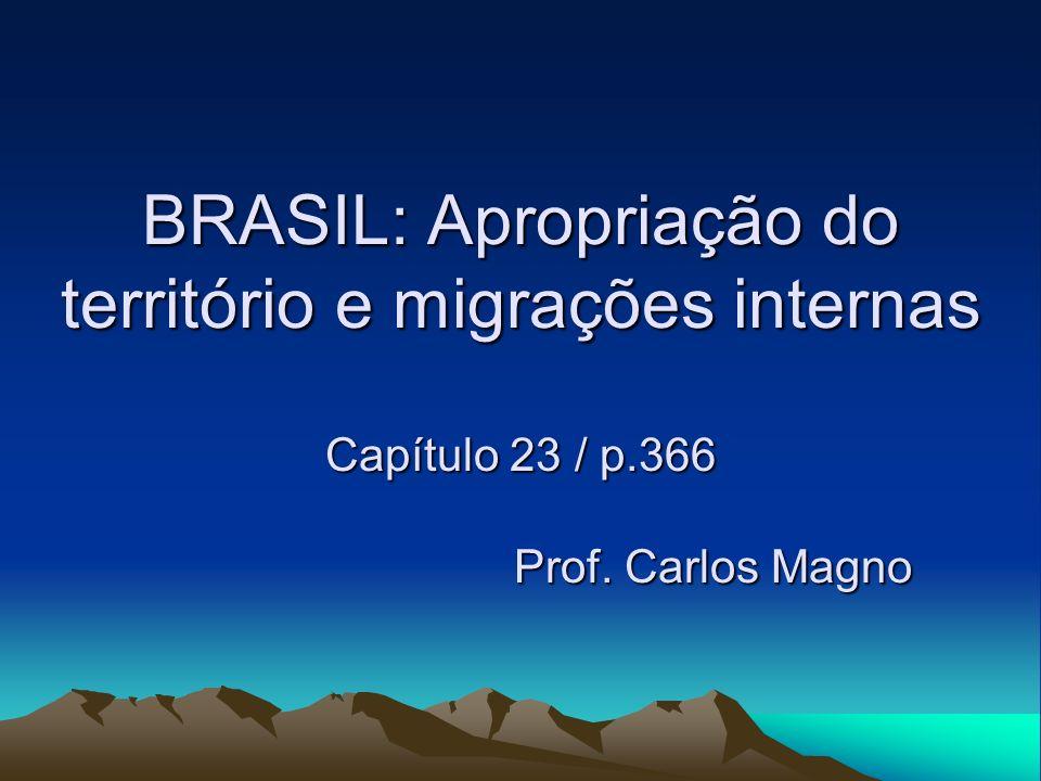 BRASIL: Apropriação do território e migrações internas Capítulo 23 / p.366 Prof. Carlos Magno