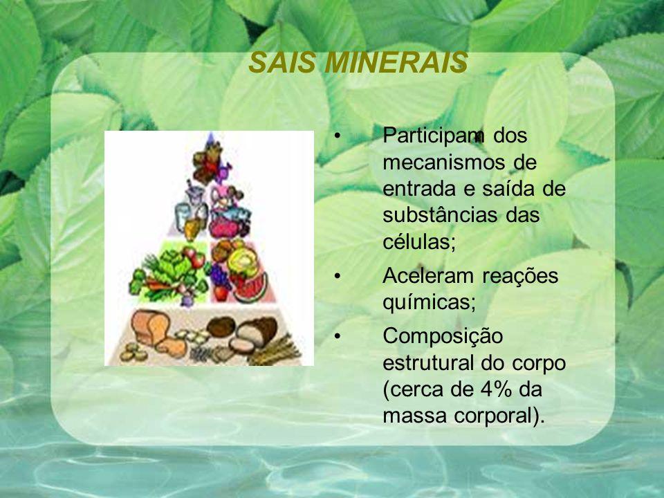SAIS MINERAIS Participam dos mecanismos de entrada e saída de substâncias das células; Aceleram reações químicas; Composição estrutural do corpo (cerca de 4% da massa corporal).