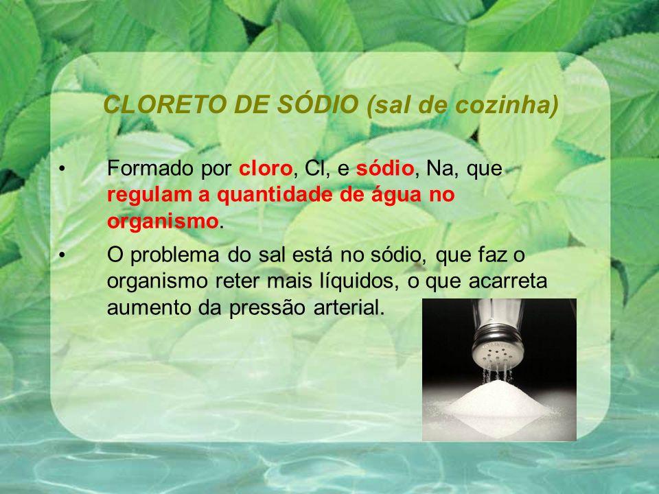 CLORETO DE SÓDIO (sal de cozinha) Formado por cloro, Cl, e sódio, Na, que regulam a quantidade de água no organismo. O problema do sal está no sódio,