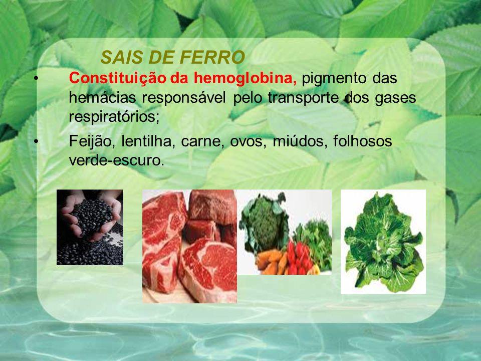 SAIS DE FERRO Constituição da hemoglobina, pigmento das hemácias responsável pelo transporte dos gases respiratórios; Feijão, lentilha, carne, ovos, miúdos, folhosos verde-escuro.