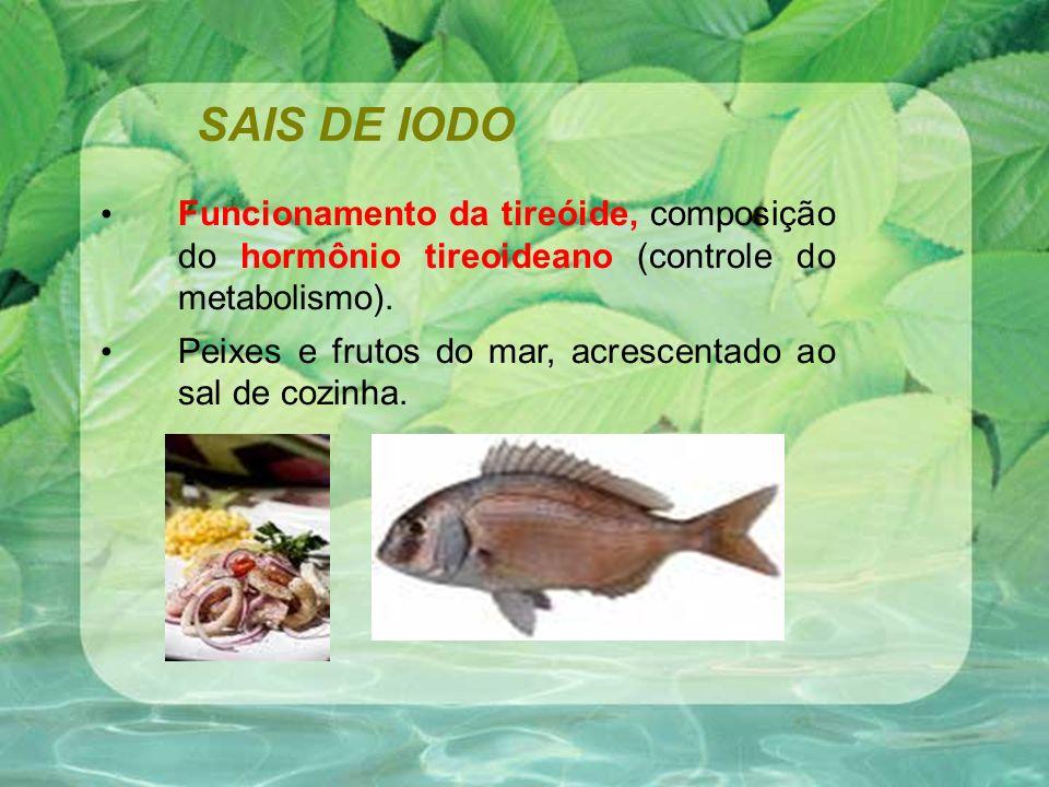 SAIS DE IODO Funcionamento da tireóide, composição do hormônio tireoideano (controle do metabolismo). Peixes e frutos do mar, acrescentado ao sal de c