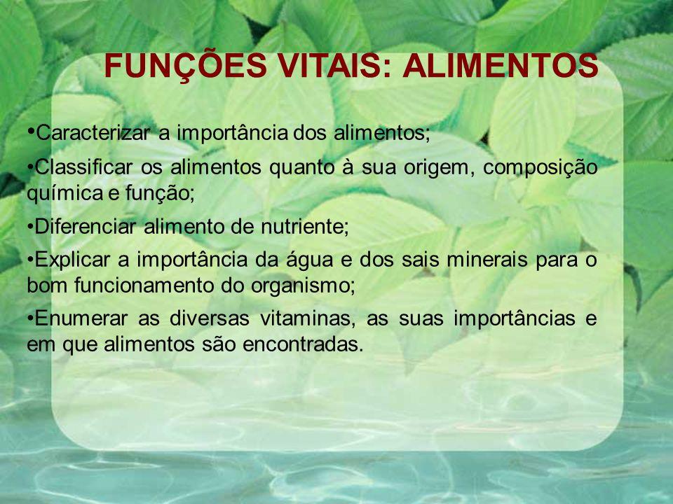 FUNÇÕES VITAIS: ALIMENTOS Caracterizar a importância dos alimentos; Classificar os alimentos quanto à sua origem, composição química e função; Diferen