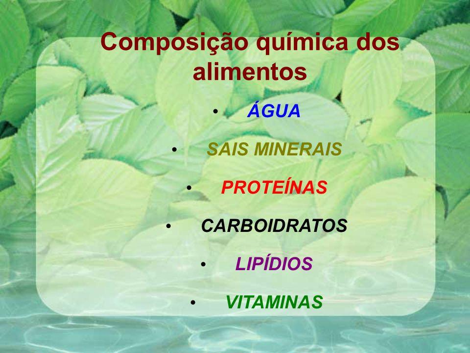 Composição química dos alimentos ÁGUA SAIS MINERAIS PROTEÍNAS CARBOIDRATOS LIPÍDIOS VITAMINAS