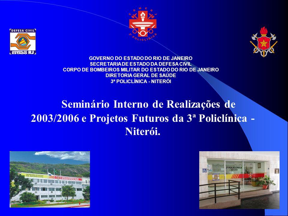 GOVERNO DO ESTADO DO RIO DE JANEIRO SECRETARIA DE ESTADO DA DEFESA CIVIL CORPO DE BOMBEIROS MILITAR DO ESTADO DO RIO DE JANEIRO DIRETORIA GERAL DE SAÚDE 3ª POLICLÍNICA - NITERÓI Seminário Interno de Realizações de 2003/2006 e Projetos Futuros da 3ª Policlínica - Niterói.