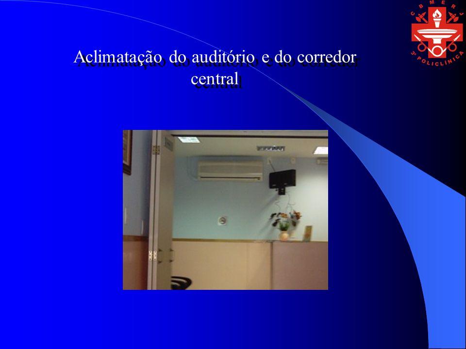 Aclimatação do auditório e do corredor central