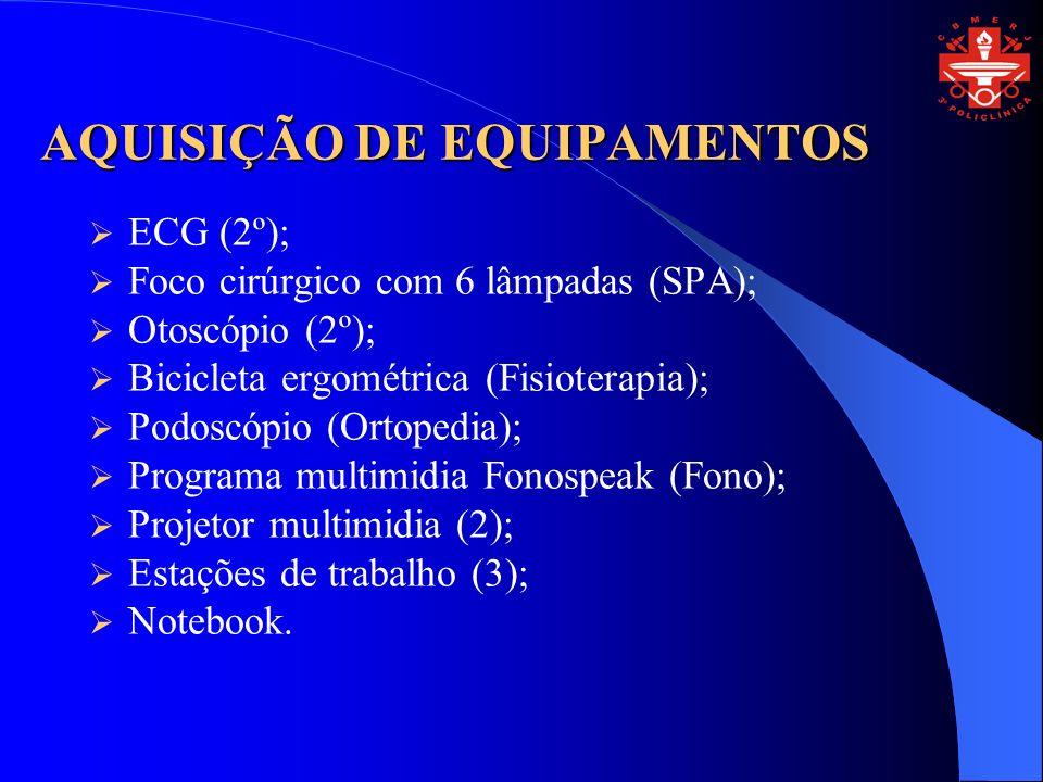 AQUISIÇÃO DE EQUIPAMENTOS ECG (2º); Foco cirúrgico com 6 lâmpadas (SPA); Otoscópio (2º); Bicicleta ergométrica (Fisioterapia); Podoscópio (Ortopedia);
