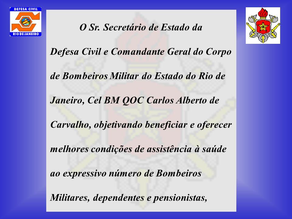 O Sr. Secretário de Estado da Defesa Civil e Comandante Geral do Corpo de Bombeiros Militar do Estado do Rio de Janeiro, Cel BM QOC Carlos Alberto de