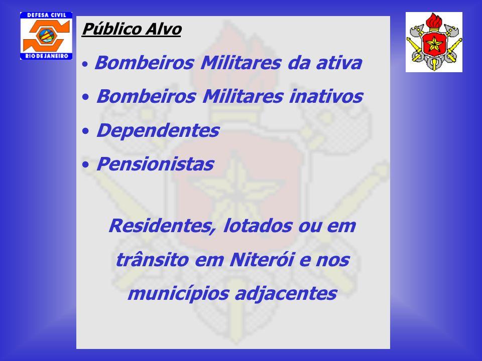 Público Alvo Bombeiros Militares da ativa Bombeiros Militares inativos Dependentes Pensionistas Residentes, lotados ou em trânsito em Niterói e nos mu