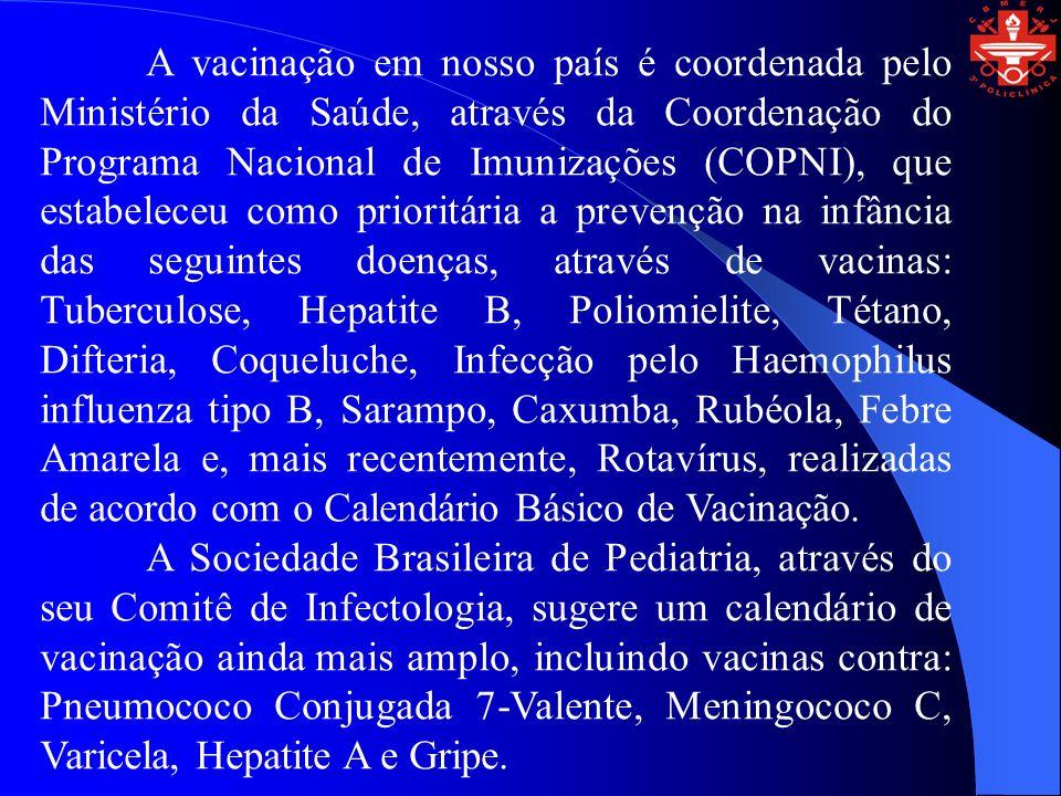\Idade Vacina\ Ao nasce r 1 mês 2 meses 3 meses 4 meses 5 meses 6 meses 7 meses 9 meses 12 meses 15 meses 18 meses 4 a 6 anos BCG Hepatite B Sabin Tetravalente Rotavírus Pneumo 7 Valente Meningo C Influenza Febre Amarela Varicela Tríplice Viral Hepatite A Calendário Vacinal da Criança (Ministério da Saúde/SBP) *Recomendadas pela Sociedade Brasileira de Pediatria *Indicada para crianças que residem ou viajarão para área endêmica ou risco potencial