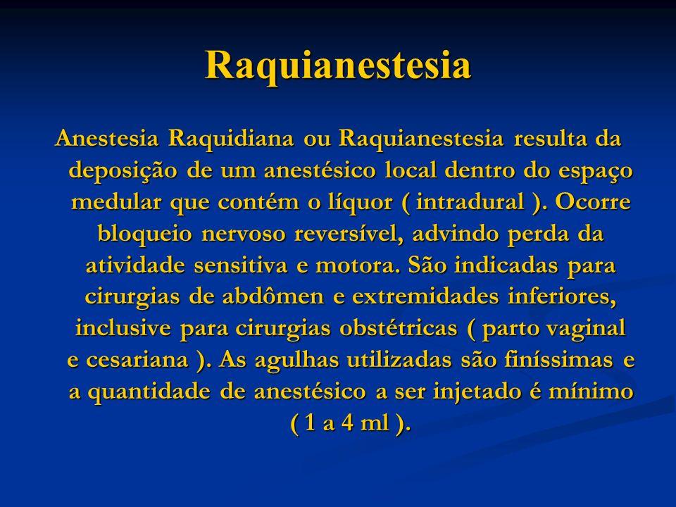 Raquianestesia Anestesia Raquidiana ou Raquianestesia resulta da deposição de um anestésico local dentro do espaço medular que contém o líquor ( intra
