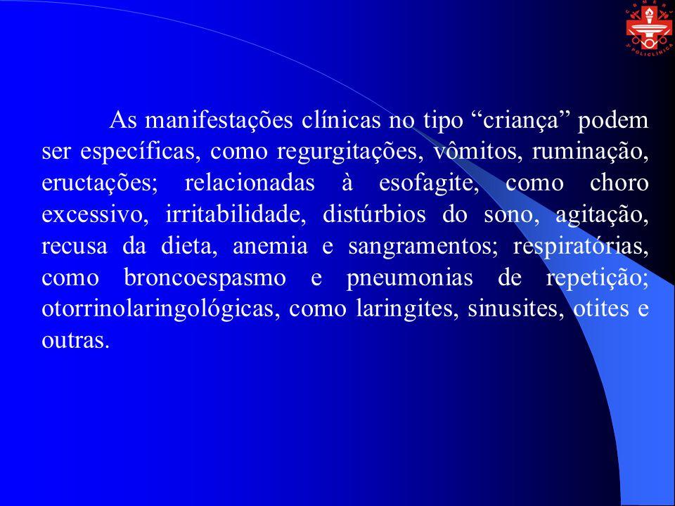 As manifestações clínicas no tipo criança podem ser específicas, como regurgitações, vômitos, ruminação, eructações; relacionadas à esofagite, como ch