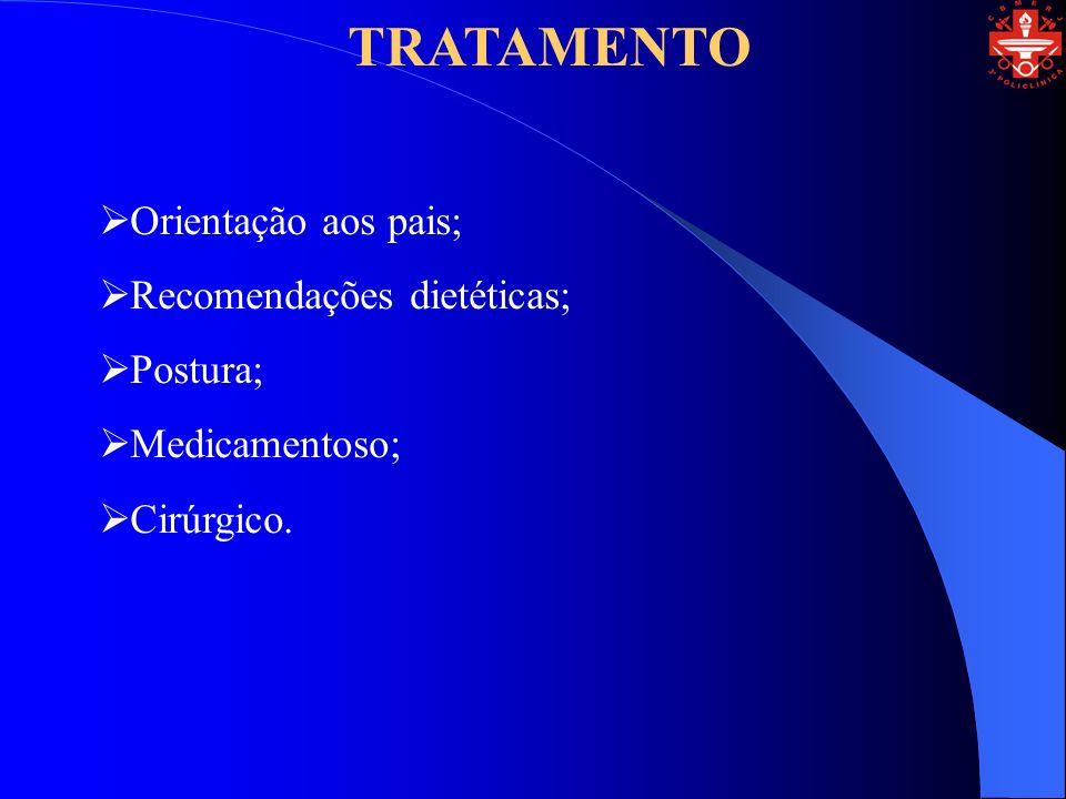 TRATAMENTO Orientação aos pais; Recomendações dietéticas; Postura; Medicamentoso; Cirúrgico.