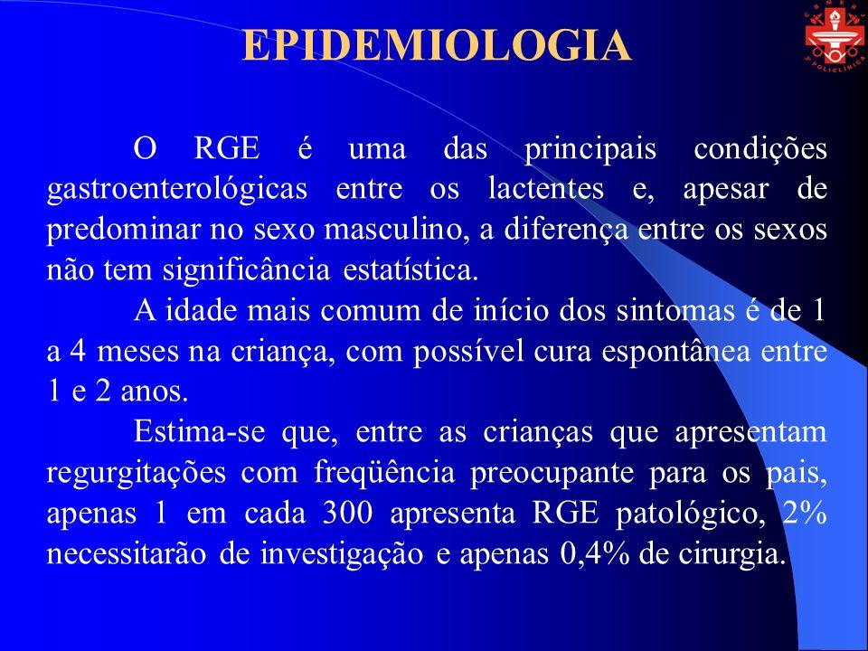 EPIDEMIOLOGIA O RGE é uma das principais condições gastroenterológicas entre os lactentes e, apesar de predominar no sexo masculino, a diferença entre os sexos não tem significância estatística.