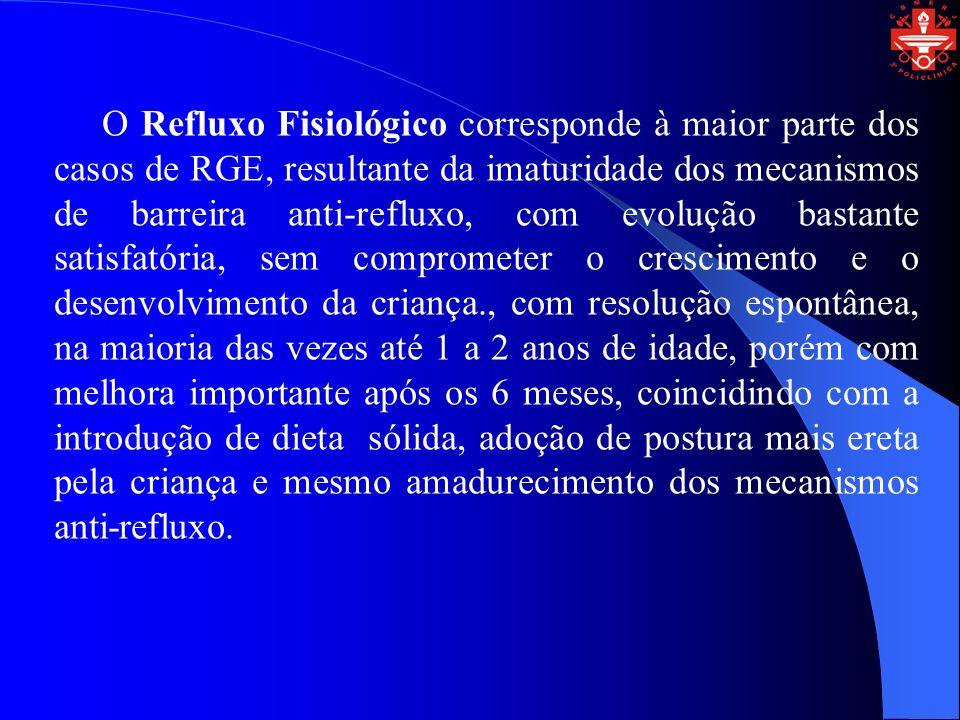 O Refluxo Fisiológico corresponde à maior parte dos casos de RGE, resultante da imaturidade dos mecanismos de barreira anti-refluxo, com evolução bast