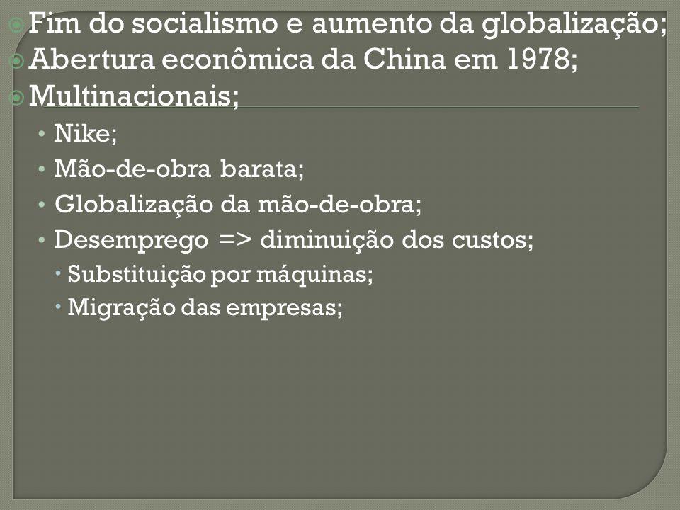 Fim do socialismo e aumento da globalização; Abertura econômica da China em 1978; Multinacionais; Nike; Mão-de-obra barata; Globalização da mão-de-obr