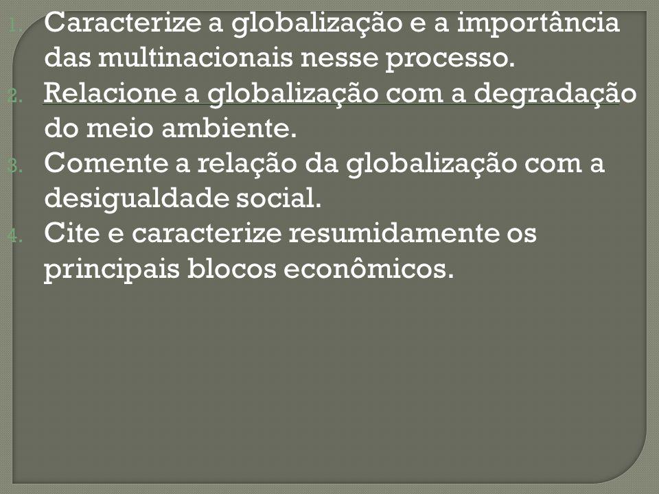 1. Caracterize a globalização e a importância das multinacionais nesse processo. 2. Relacione a globalização com a degradação do meio ambiente. 3. Com