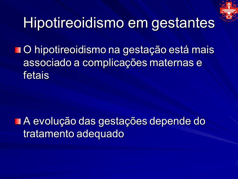 Hipotireoidismo em gestantes O hipotireoidismo na gestação está mais associado a complicações maternas e fetais A evolução das gestações depende do tr