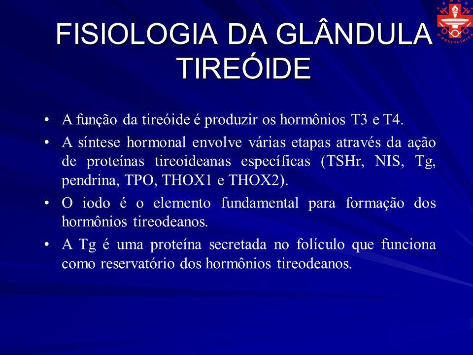 FISIOLOGIA DA GLÂNDULA TIREÓIDE A função da tireóide é produzir os hormônios T3 e T4. A síntese hormonal envolve várias etapas através da ação de prot