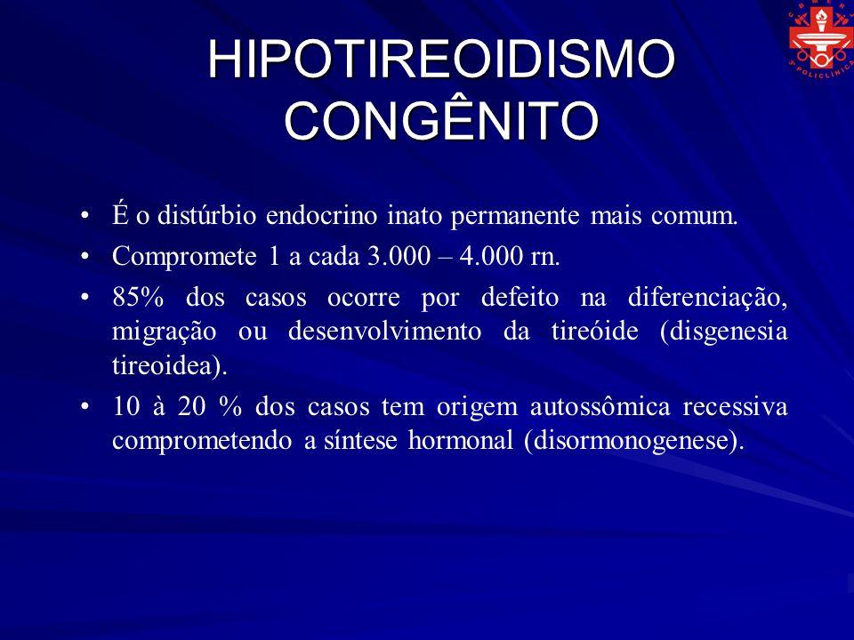 HIPOTIREOIDISMO CONGÊNITO Quadro clínico: Atraso no crescimento e desenvolvimento neuropsicomotor.