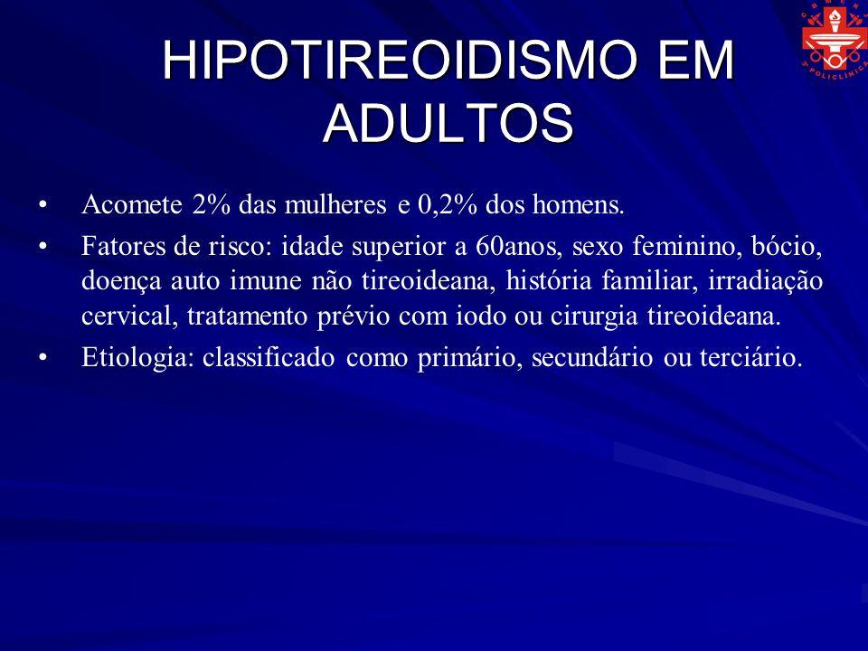 HIPOTIREOIDISMO EM ADULTOS Acomete 2% das mulheres e 0,2% dos homens. Fatores de risco: idade superior a 60anos, sexo feminino, bócio, doença auto imu