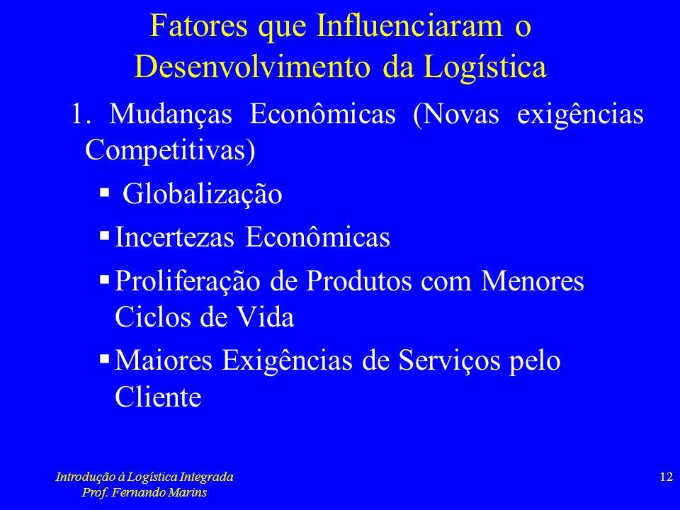 Introdução à Logística Integrada Prof. Fernando Marins 12 Fatores que Influenciaram o Desenvolvimento da Logística 1. Mudanças Econômicas (Novas exigê