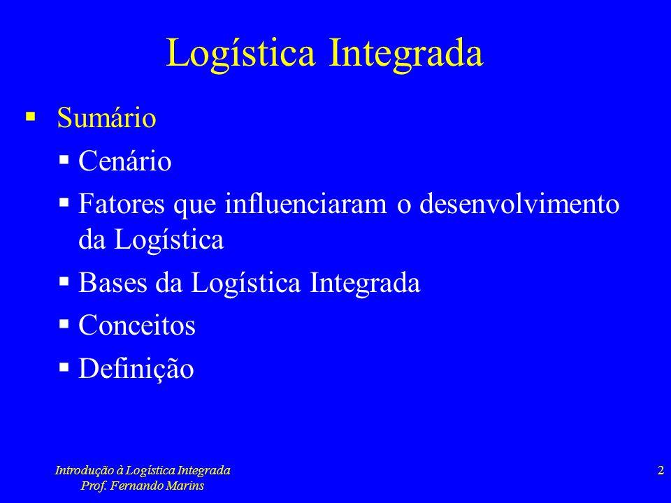 Introdução à Logística Integrada Prof. Fernando Marins 33
