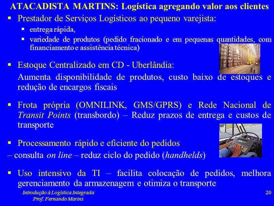 Introdução à Logística Integrada Prof. Fernando Marins 20 ATACADISTA MARTINS: Logística agregando valor aos clientes Prestador de Serviços Logísticos
