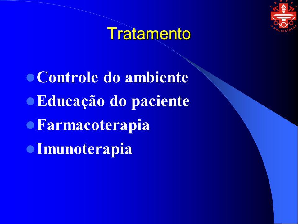 Tratamento Controle do ambiente Educação do paciente Farmacoterapia Imunoterapia