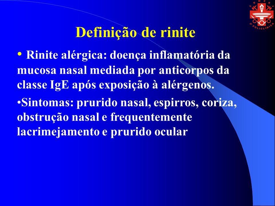 Rinite alérgica: doença inflamatória da mucosa nasal mediada por anticorpos da classe IgE após exposição à alérgenos. Sintomas: prurido nasal, espirro