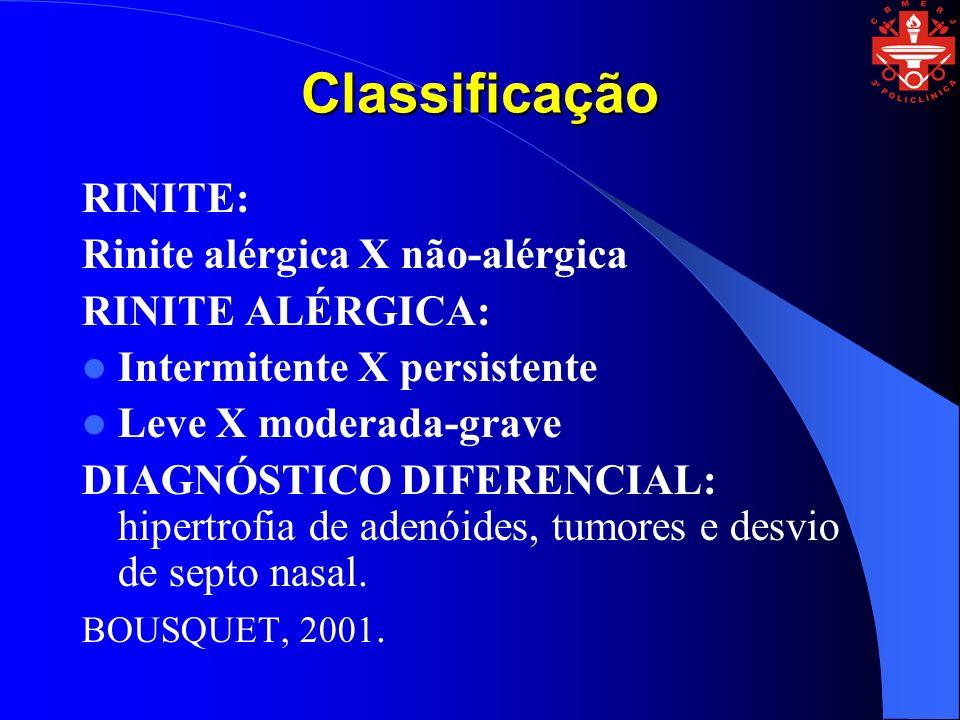 Classificação RINITE: Rinite alérgica X não-alérgica RINITE ALÉRGICA: Intermitente X persistente Leve X moderada-grave DIAGNÓSTICO DIFERENCIAL: hipert