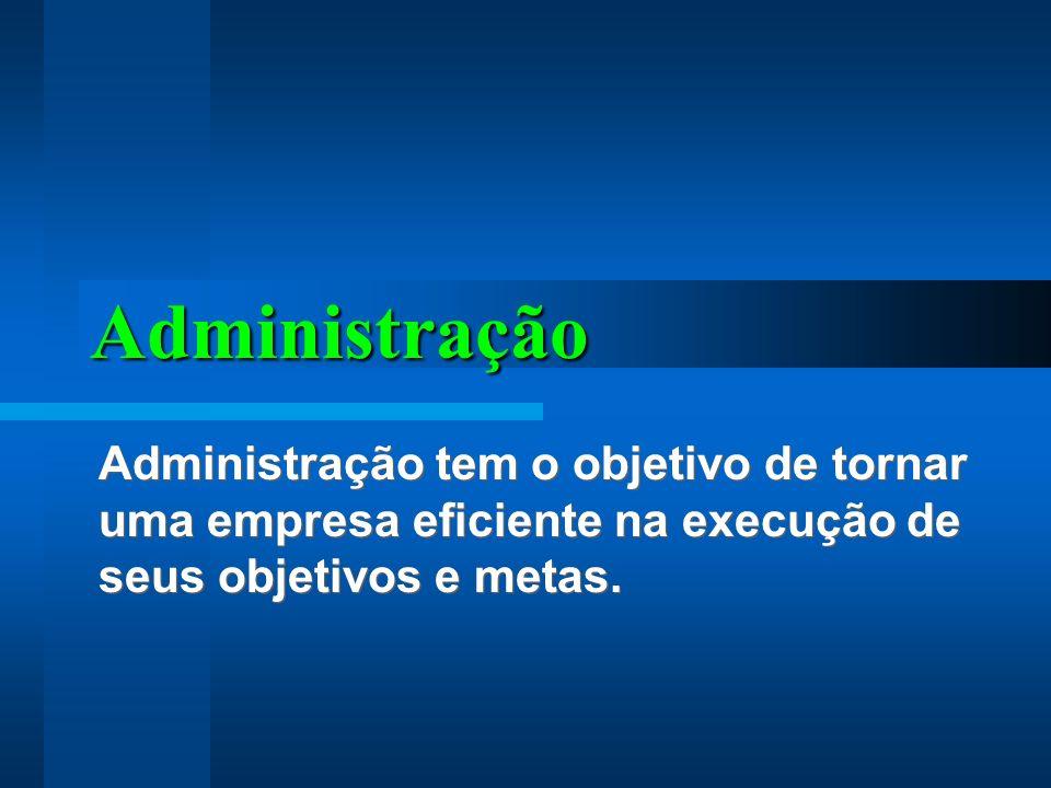 Administração Administração tem o objetivo de tornar uma empresa eficiente na execução de seus objetivos e metas.