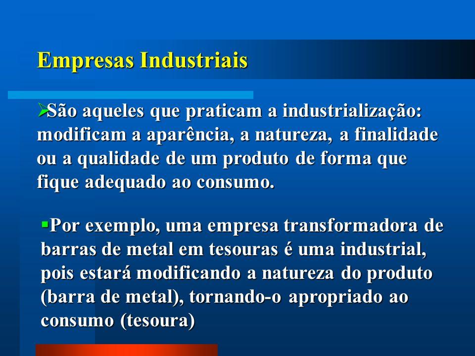 Empresas Industriais São aqueles que praticam a industrialização: modificam a aparência, a natureza, a finalidade ou a qualidade de um produto de form