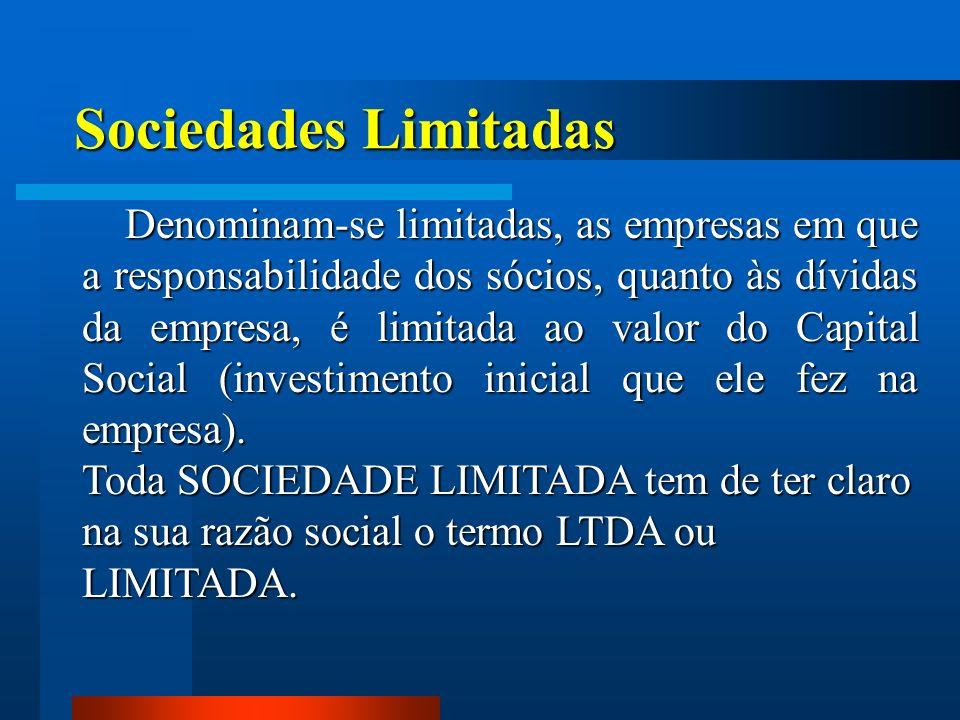Sociedades Limitadas Denominam-se limitadas, as empresas em que a responsabilidade dos sócios, quanto às dívidas da empresa, é limitada ao valor do Ca