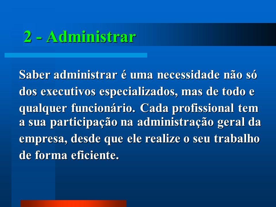 2 - Administrar Saber administrar é uma necessidade não só dos executivos especializados, mas de todo e qualquer funcionário. Cada profissional tem a