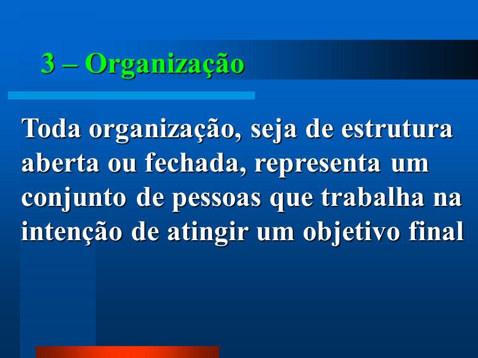 3 – Organização Toda organização, seja de estrutura aberta ou fechada, representa um conjunto de pessoas que trabalha na intenção de atingir um objeti