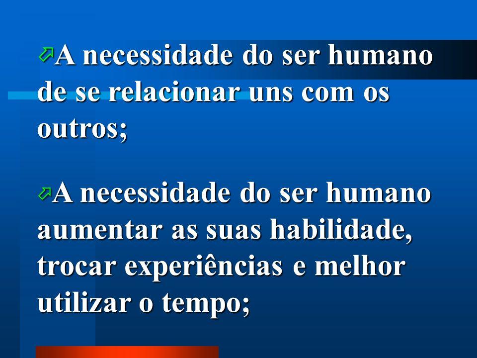 A necessidade do ser humano de se relacionar uns com os outros; A necessidade do ser humano de se relacionar uns com os outros; A necessidade do ser h
