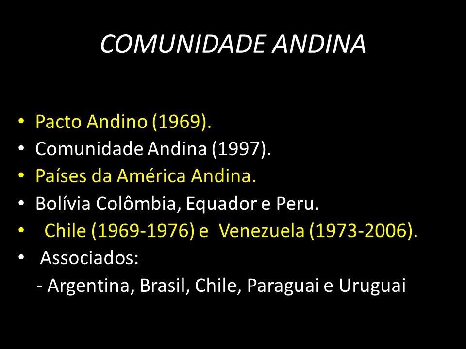 Pacto Andino (1969). Comunidade Andina (1997). Países da América Andina. Bolívia Colômbia, Equador e Peru. Chile (1969-1976) e Venezuela (1973-2006).