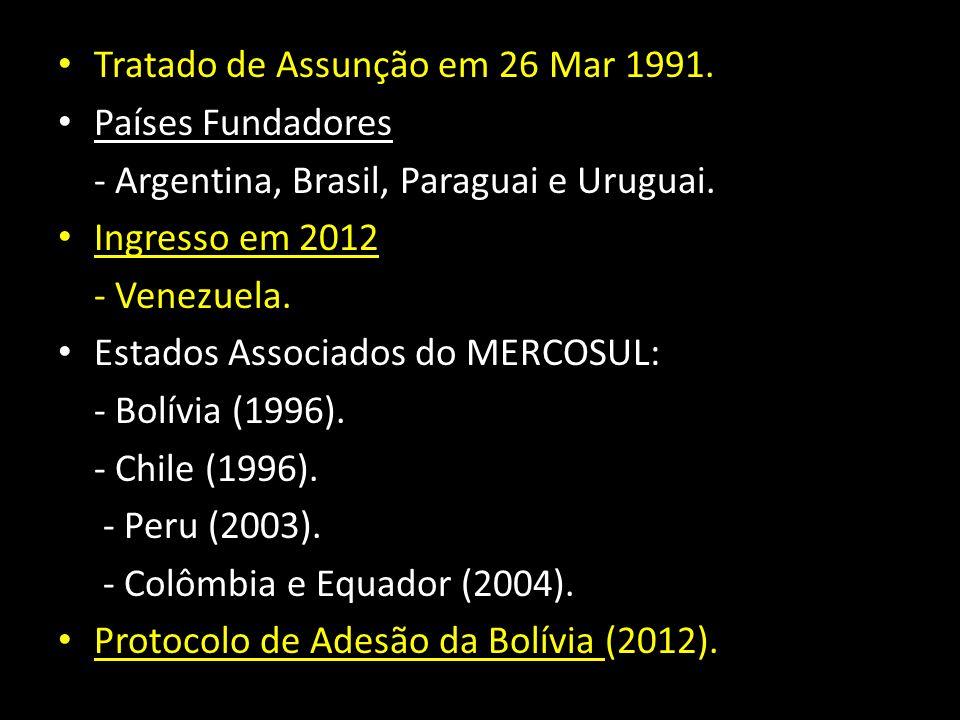 Tratado de Assunção em 26 Mar 1991. Países Fundadores - Argentina, Brasil, Paraguai e Uruguai. Ingresso em 2012 - Venezuela. Estados Associados do MER