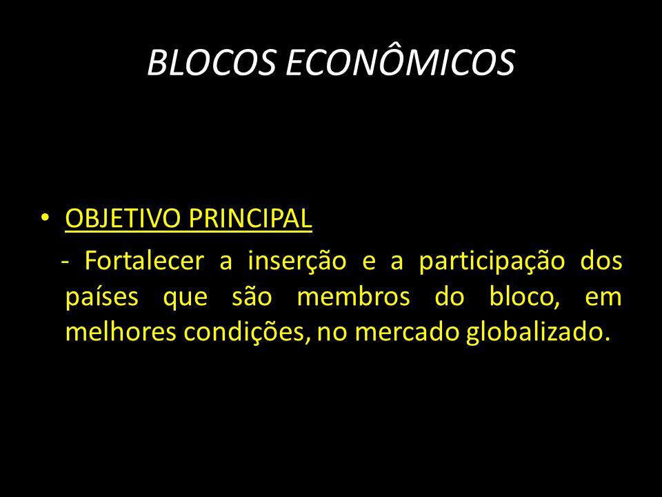 BLOCOS ECONÔMICOS OBJETIVO PRINCIPAL - Fortalecer a inserção e a participação dos países que são membros do bloco, em melhores condições, no mercado g