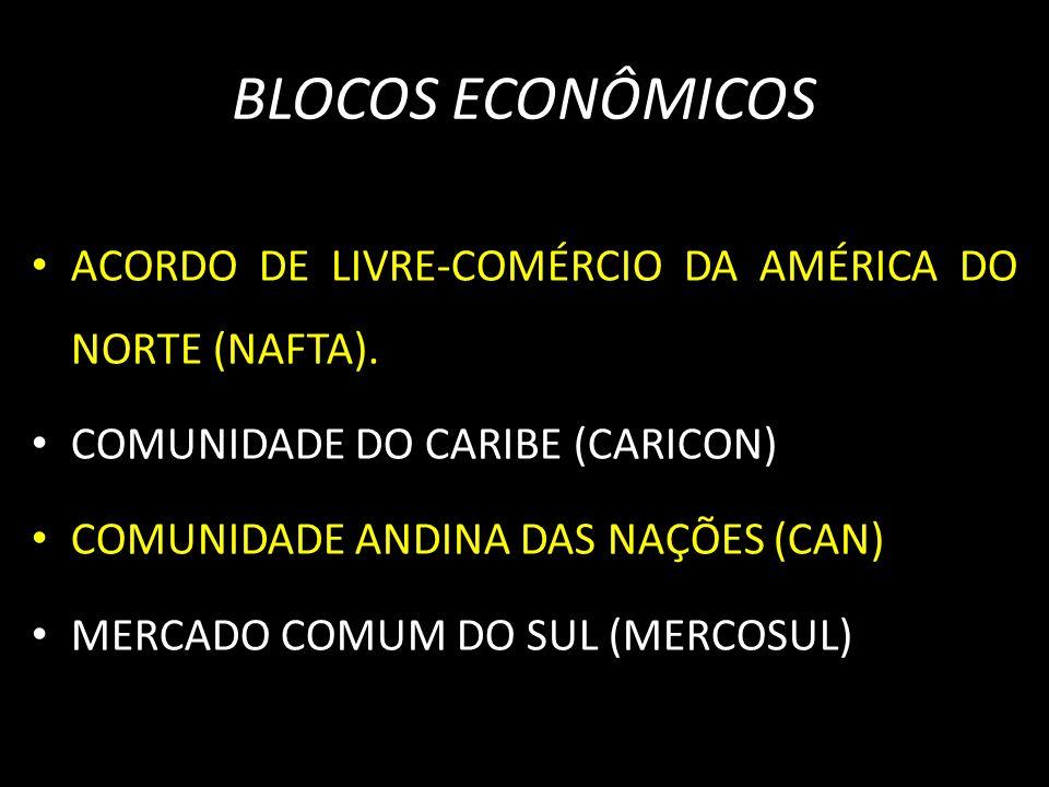 BLOCOS ECONÔMICOS ACORDO DE LIVRE-COMÉRCIO DA AMÉRICA DO NORTE (NAFTA). COMUNIDADE DO CARIBE (CARICON) COMUNIDADE ANDINA DAS NAÇÕES (CAN) MERCADO COMU