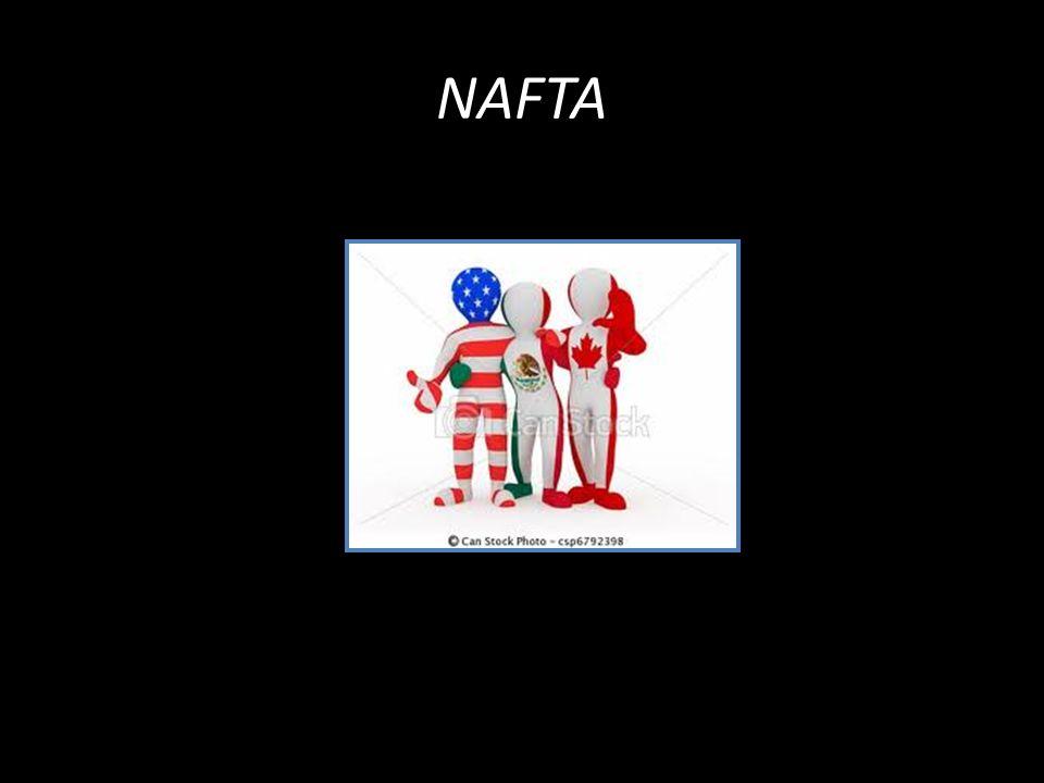 1994.México, Estados Unidos e Canadá. Zona de livre-comércio.