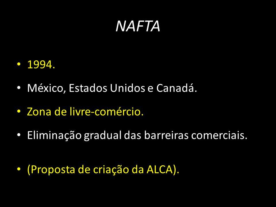 1994. México, Estados Unidos e Canadá. Zona de livre-comércio. Eliminação gradual das barreiras comerciais. (Proposta de criação da ALCA).