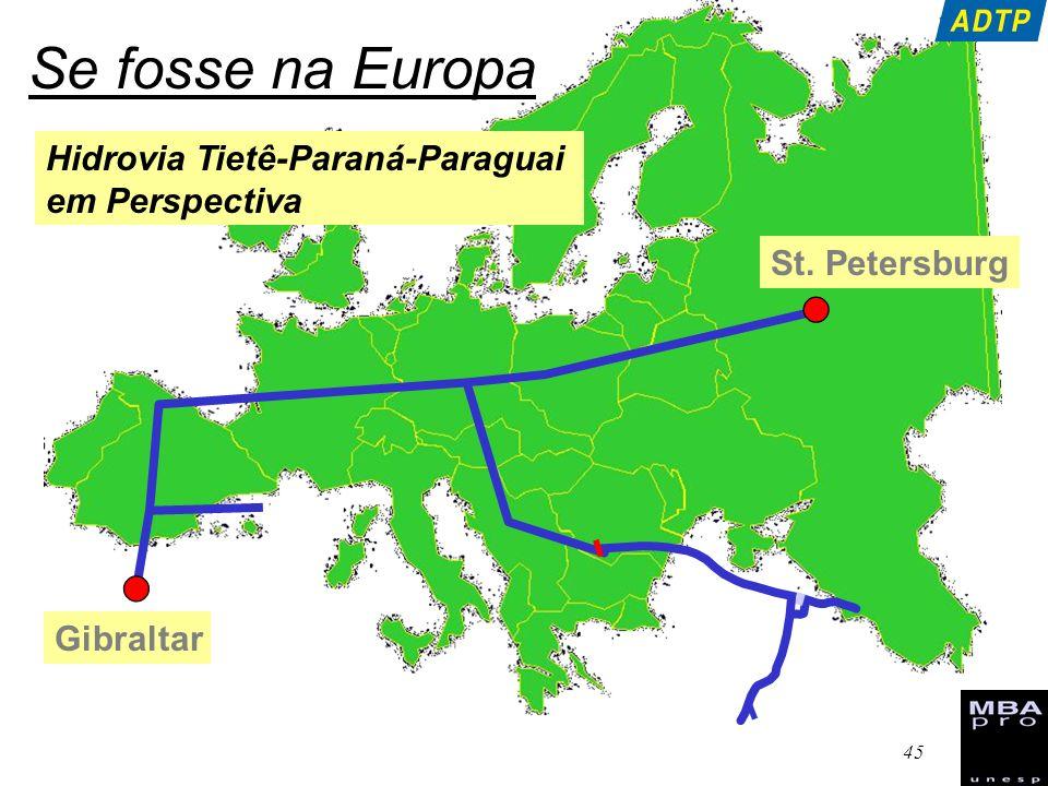 46 Se fosse nos Estados Unidos Hidrovia Tietê-Paraná-Paraguai em Perspectiva Saint Paul Gulf of México Chicago Ohio 5,000 km