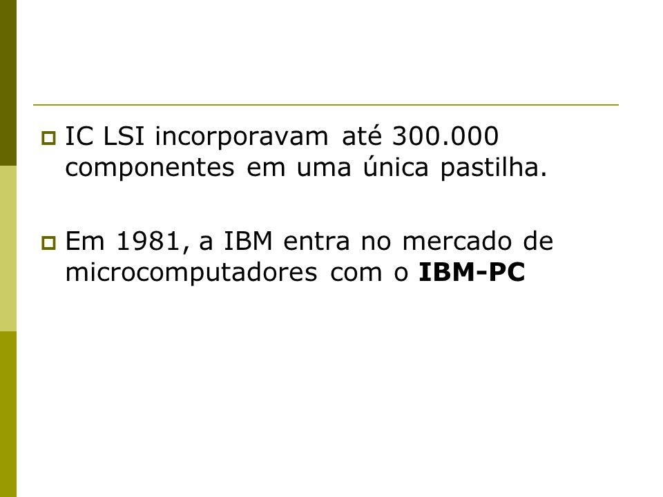 IC LSI incorporavam até 300.000 componentes em uma única pastilha. Em 1981, a IBM entra no mercado de microcomputadores com o IBM-PC