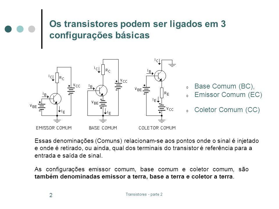 Transistores - parte 2 2 Os transistores podem ser ligados em 3 configurações básicas o Base Comum (BC), o Emissor Comum (EC) o Coletor Comum (CC) Ess