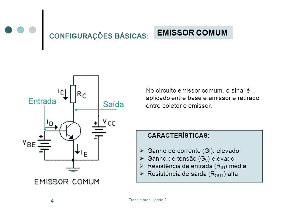 Transistores - parte 2 4 CONFIGURAÇÕES BÁSICAS: EMISSOR COMUM No circuito emissor comum, o sinal é aplicado entre base e emissor e retirado entre cole