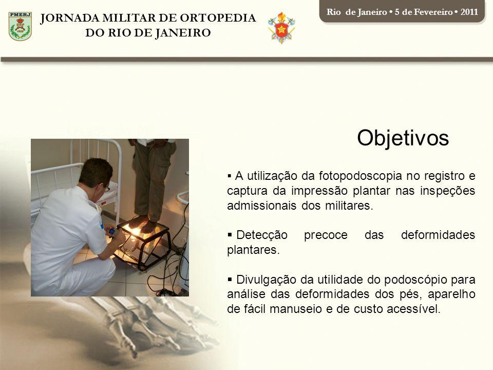 JORNADA MILITAR DE ORTOPEDIA DO RIO DE JANEIRO Rio de Janeiro 5 de Fevereiro 2011 Outro sistema bastante utilizado para captura de impressões plantares é o pedígrafo.